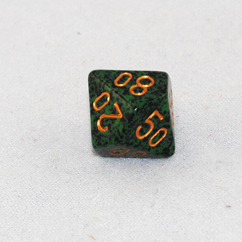 Speckled Golden Recon D100, 10 Sided Dice