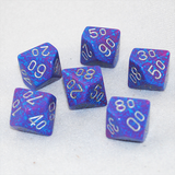 Speckled Silver Tetra D100, 10 Sided Dice