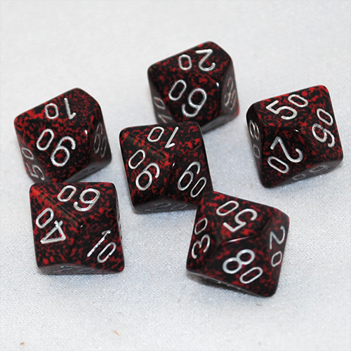Set of 10 Chessex D10 Dice Speckled Silver Volcano