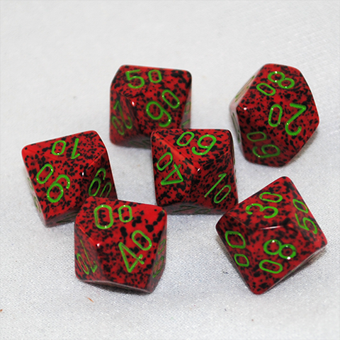 Speckled Strawberry D100, 10 Sided Dice
