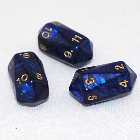 Crystal Shaped 12 Sided D12 Dice (Blue)