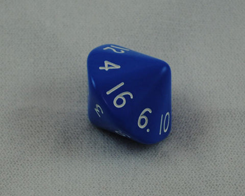 Opaque Blue 16 Sided Dice, D16