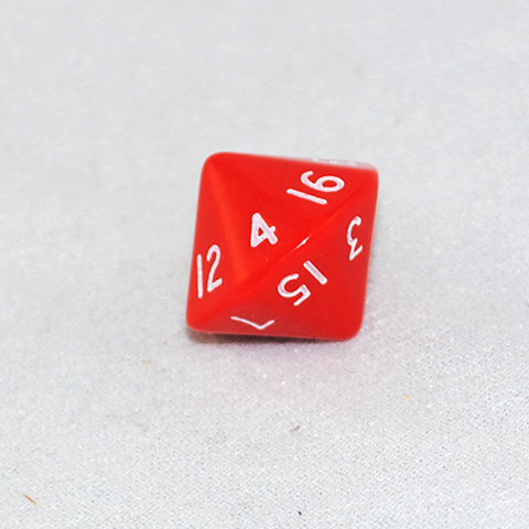 Opaque Red 16 Sided Dice, D16