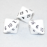Opaque White 16 Sided Dice, D16