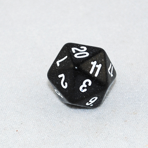 Glitter Black and White 20 Sided Dice