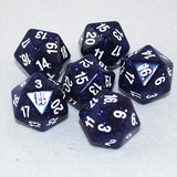 Glitter Blue and White 20 Sided Dice