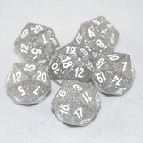 Glitter Clear and White 20 Sided Dice