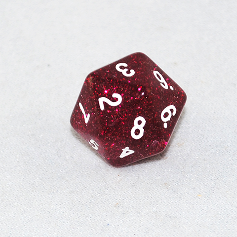 Glitter Red and White 20 Sided Dice