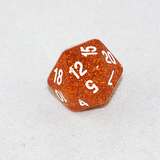 Glitter Yellow and White 20 Sided Dice