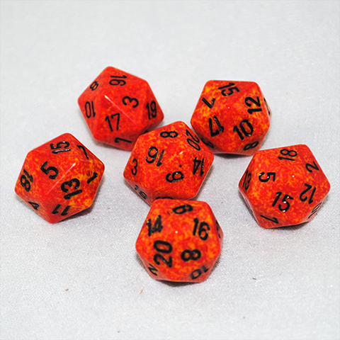 Speckled Fire 20 Sided Dice