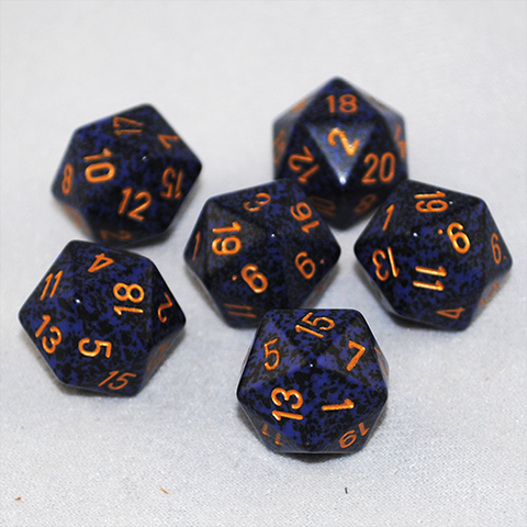 Speckled Golden Cobalt 20 Sided Dice