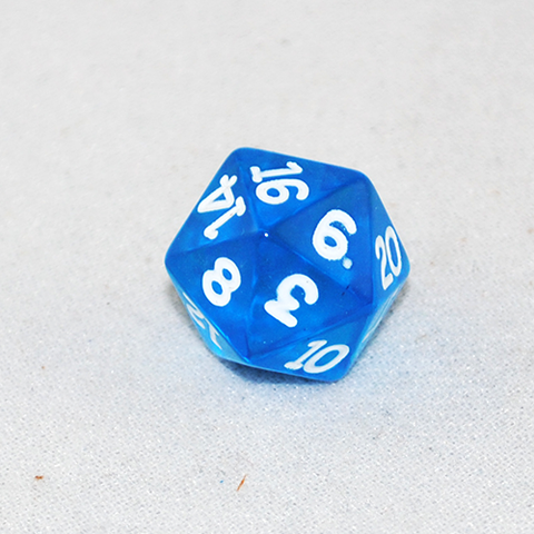Transparent Blue and White 20 Sided Dice