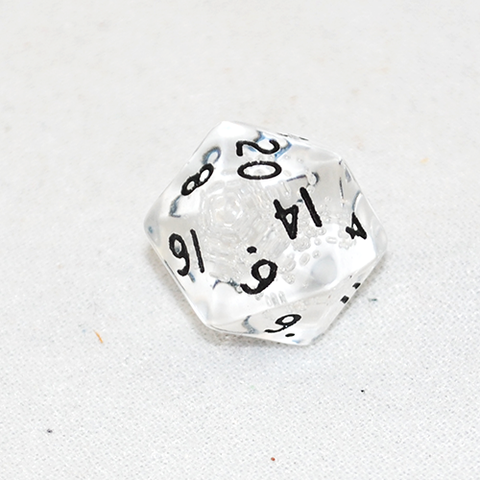 Transparent Clear Bubble and Black 20 Sided Dice