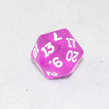 Transparent Orchid and White 20 Sided Dice