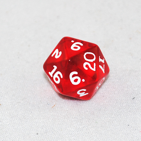 Transparent Red and White 20 Sided Dice