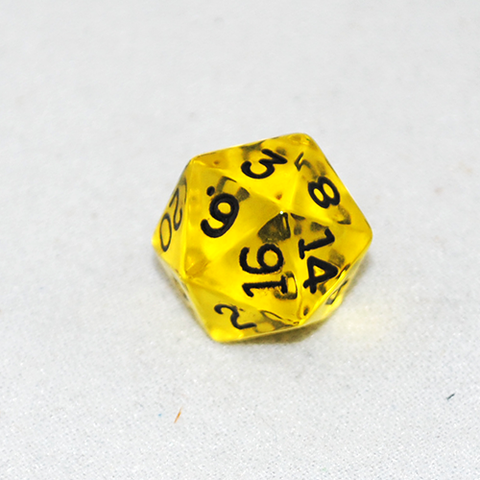 Transparent Yellow and Black 20 Sided Dice