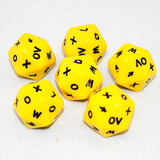 D20 Yellow Dice With Letters and Arrows