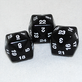 Opaque D24 Black Twenty Four Sided Dice