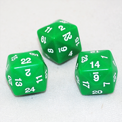 Opaque D24 Green Twenty Four Sided Dice