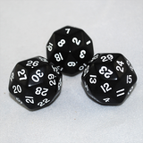 30 Sided Dice, Opaque Black and White