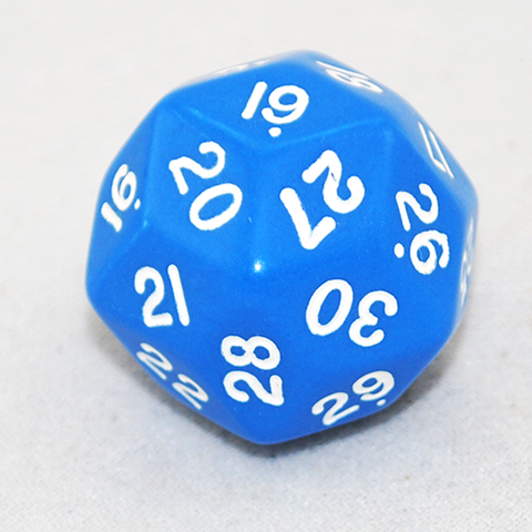 30 Sided Dice, Opaque Blue and White