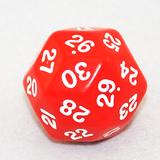 30 Sided Dice, Opaque Red and White