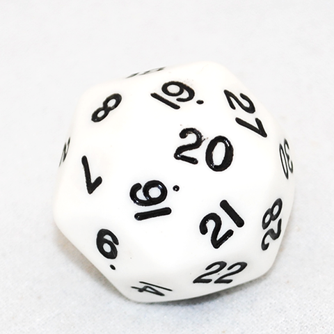 30 Sided Dice, Opaque White and Black