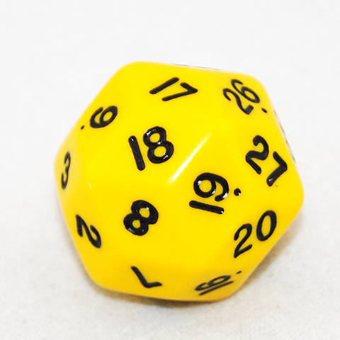30 Sided Dice, Opaque Yellow and Black