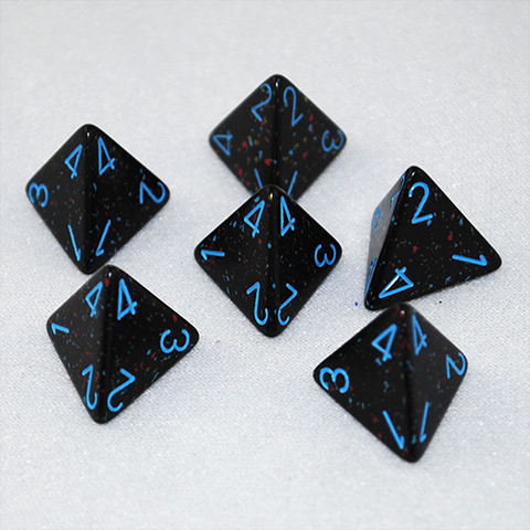 Speckled Blue Stars 4 Sided Dice