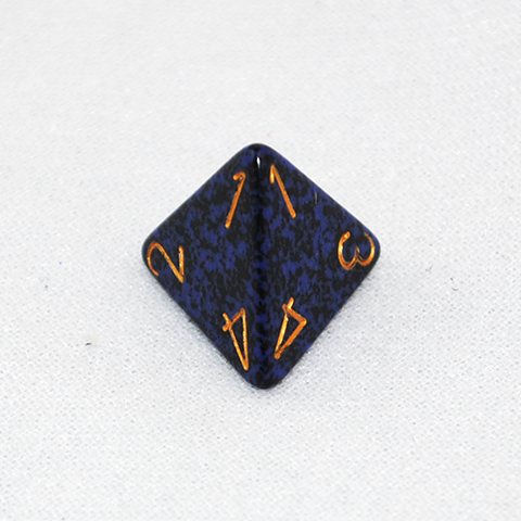 Speckled Golden Cobalt 4 Sided Dice