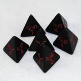 Opaque Black and Red 4 Sided Dice