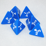 Opaque Blue and White 4 Sided Dice