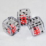 Dice in Dice, 6 Sided, Transparent Clear and Red Double Dice