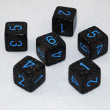 Speckled Blue Stars 6 Sided Dice