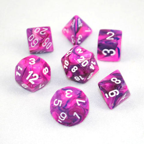 Set of 7 Chessex Festive Violet/White RPG Dice