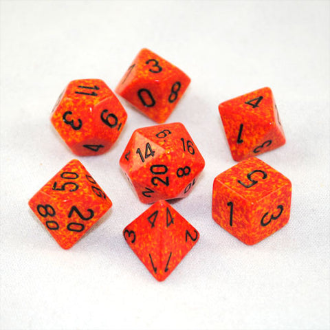Set of 7 Speckled Fire Dice