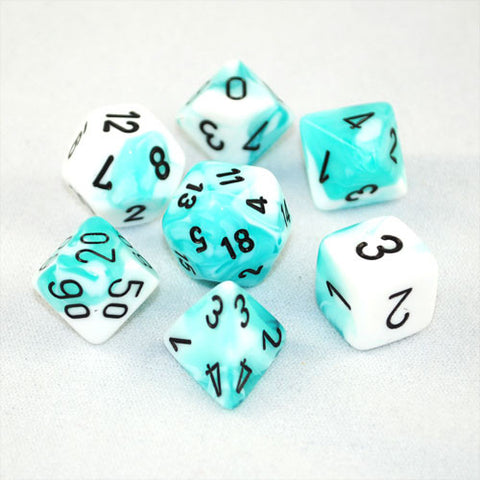 Set of 7 Chessex Gemini Teal-White w/black RPG Dice