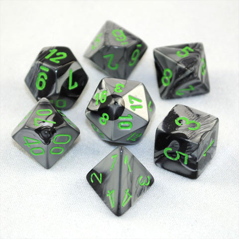 Set of 7 Chessex Gemini Black-Grey w/green RPG Dice