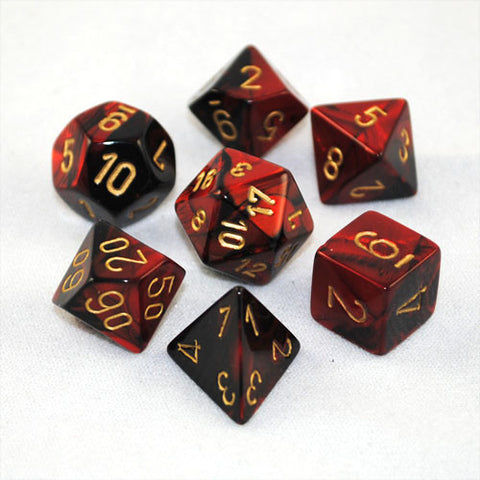 Set of 7 Chessex Gemini Black-Red w/gold RPG Dice