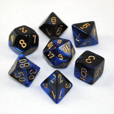 Set of 7 Chessex Gemini Black-Blue w/gold RPG Dice