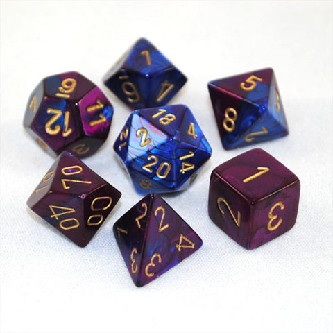 Set of 7 Chessex Gemini Blue-Purple w/gold RPG Dice