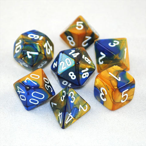 Set of 7 Chessex Gemini Blue-Gold w/white RPG Dice