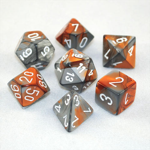 Set of 7 Chessex Gemini Copper-Steel w/white RPG Dice