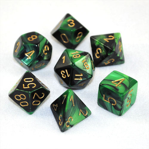 Set Of 7 Chessex Gemini Black-Green W/gold RPG Dice