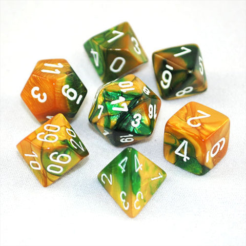 Set of 7 Chessex Gemini Gold-Green w/white RPG Dice