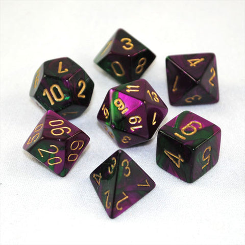 Set of 7 Chessex Gemini Green-Purple w/gold RPG Dice