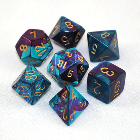 Set of 7 Chessex Gemini Purple-Teal w/gold RPG Dice