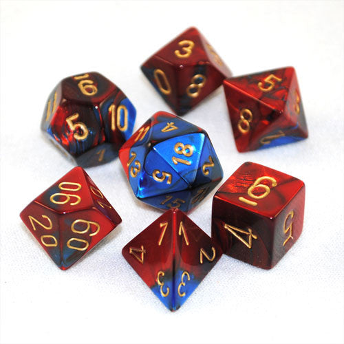 Set Of 7 Chessex Gemini Blue-Red W/gold RPG Dice
