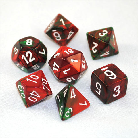 Set of 7 Chessex Gemini Green-Red w/white RPG Dice