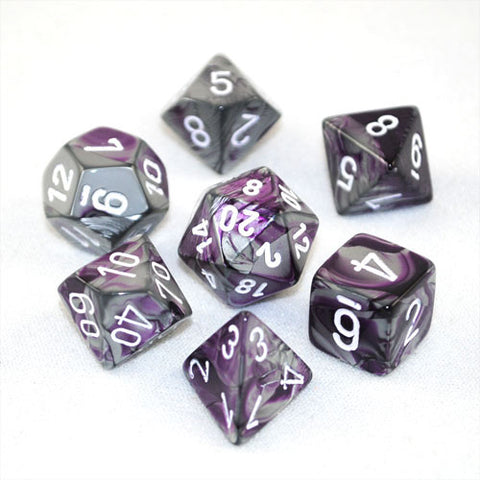 Set of 7 Chessex Gemini Purple-Steel w/white RPG Dice